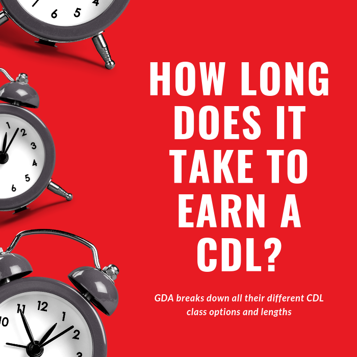 "graphic with clocks and the verbiage ""how long does it take to earn a cdl"""