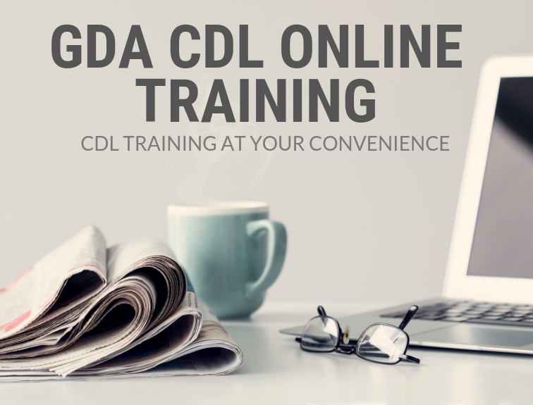 computer, coffee mug, newspaper and glasses with online cdl training verbiage